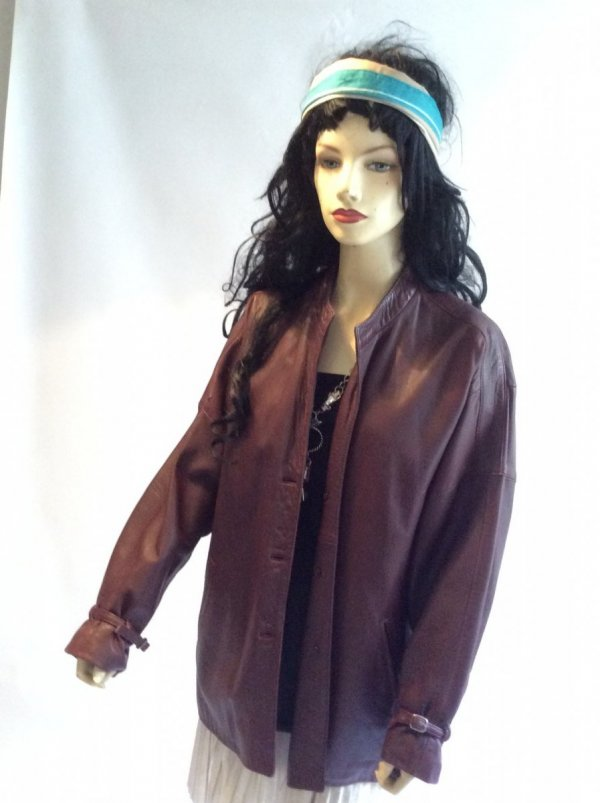 Veste simili cuir bordeaux